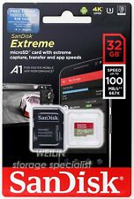 SanDisk Extreme 32 GB Micro SD SDHC 100MB UHS-1 U3 V30 A1 Class 10 Card 32G 4K