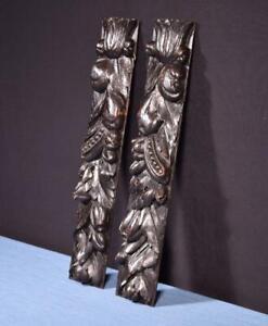 "*Pair of 15"" French Antique Solid Oak Trim Posts/Pillars/Columns Salvage"