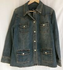 Women's GAP Stretch Denim Jacket With Snap Closures, Size Medium EUC