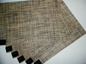 NWT SET OF 6 CHILEWICH BASKETWEAVE BARK BROWN/TAN  PLACEMATS