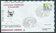 1984 VATICANO VIAGGI DEL PAPA DISPACCIO AEREO SANTO DOMINGO TIMBRO ARRIVO - SV