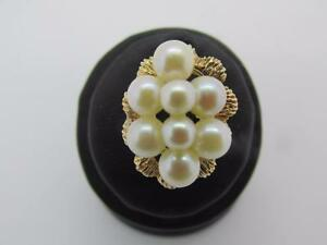 Vintage 14k Solid Yellow Gold Natural Pearl Cluster Ring  Size 5.5