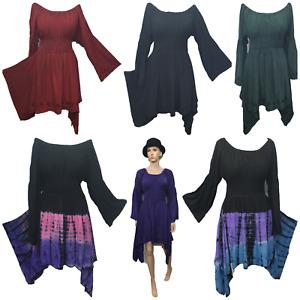 Halloween Tunic Dress Asymmetric Bardot Neck Bell Sleeve 8 10 12 14 16 18 20
