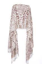Brown & Cream Leopard Tiger Zebra Print Flintstones' Era Inspired Scarf (S91)