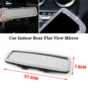 Car Indoor Rear Flat View Mirror Wide-angle Lens Driving Reversing Safety Bling