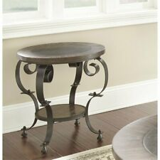 Steve Silver Mulberry Round End Table in Weathered Brown