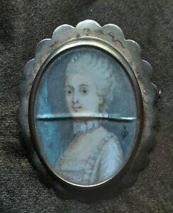 CHARMING FINE ANTOQUE PORTRAIT MINIATURE GEORGIAN LADY GILT SILVER BROOCH FRENCH