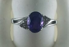 14KT WHITE GOLD OVAL AMETHYST RING WITH SIX BRILLIANT DIAMONDS SIZE 7 FINE