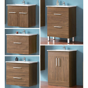 Waschbecken mit Unterschrank 60 cm Badmöbel SET Waschtisch Freistehend/Hängend