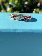 Tiffany & Co 18K Gold Diamond Ruby Twist Braided Band Ring .50 TCW Sz 6.75 RARE
