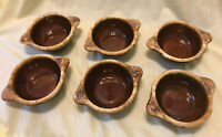 Set 6 Rare Vintage Hull Brown Drip Soup Chili Bowl 2 Side Tab Handled Stoneware
