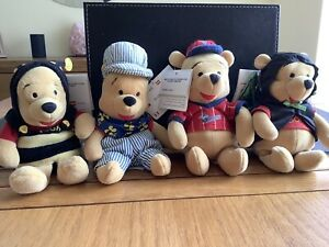 Disney Store Collectable Whinnie The Pooh Bears  8 Inches Tall X 4 BNWT