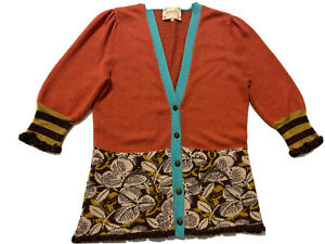 Lia Molly New Orleans womens cardigan 3/4 sleeve size large button up Unique