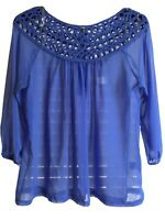 UMGEE Periwinkle Blue Sheer Blouse Embroidered Lace Neckline - Balloon Sleeve -M