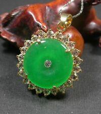 Yellow Gold Plate Green JADE Pendant Circle Necklace Diamond Imitation 100570
