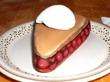 "PAINTED ROCK- CHERRY PIE ""A LA MODE!"" YUM !  PLATE INCLUDED TOO !   VIVIAN ALLEN"