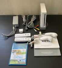 Nintendo Wii White Console RVL-001 With Cables, Motion Plus, Wii Sports Tested