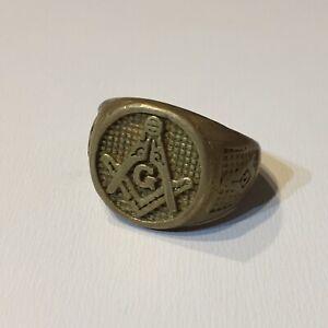 Free Mason Masonic Gold Plated Ring Mens Size 11 1/2 Stone Mason Vintage