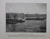 1896 London Stampa + Testo Vista Giù Il Fiume Tamigi Da London Ponte