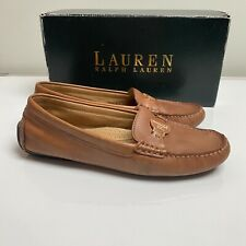 Ralph Lauren 4.5 brown leather slip on loafer moccasin flat comfy shoes casual