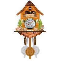 New Small Vintage Cuckoo Clock Forest Swing Wall Room Decor Wood Cartoon Clock