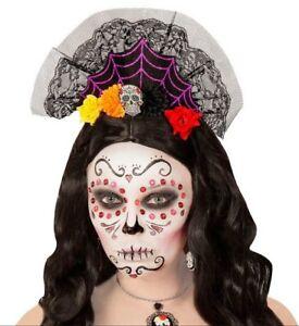Day of The Dead Crown Skull Headdress Headpiece Calavera Fancy Dress Accessory