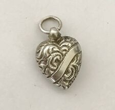 Antique Victorian Solid Silver - Heart Fob Pendant / For Charm Bracelet - C1890.