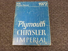 1972 Chrysler Imperial LeBaron Body Shop Service Repair Manual Book Hardtop 7.2L