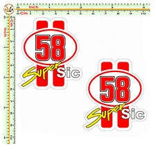 Adesivi marco simoncelli super sic 58 sticker auto moto casco corse 2 pz.