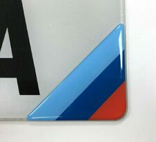2 x M Sport Style Corner Number Plate Stickers - HIGH GLOSS DOMED GEL FINISH