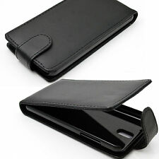 Magnetic Flip Phone Black Leather Vertical Cover Case Shield For HTC Desire 610