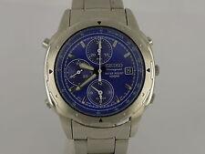 Vintage Seiko 7T32 blue Daytona quartz date pilot chrono alarm SS bracelet watch