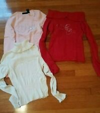 Lot of 3 Vintage Dkny Long Sleeve Tops Sweater Red Pink Off White Small