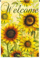 New listing New Evergreen Double Sided Garden Flag Yellow Sunflowers Welcome 12.5 X 18