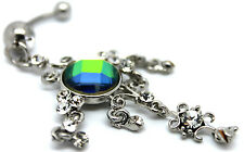 Dangle Navel Button Body Piercing Belly Bar Cz Surgical Steel Crystal