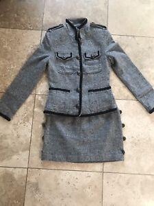 EUC Free People Designer Military Look Gray Wool Outfit Jacket + Mini Skirt US4