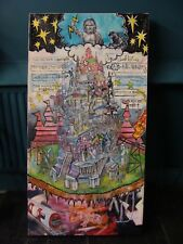 "30""x57"" painting of the tower of babel using one world google translate language"