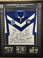 Blazed In Glory 1985 Canterbury Bankstown Bulldogs Premiers - NRL Framed Jersey