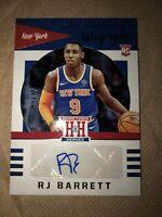 RJ Barrett 2019-20 Panini Rookie RC Auto /75 Chronicles Hometown Heroes Knicks
