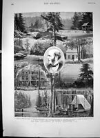 Antique Old Print The New Settlement Rugby Tennessee Usa Sketches Woods 1881