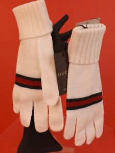 NWT GUCCI WHITE WOOL KNIT RIBBED CUFF GREEN RED WEB LOGO GLOVES SIZE XL #294732