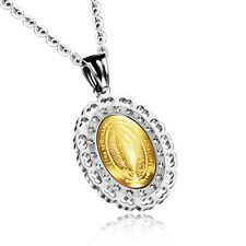 Virgin of Guadalupe CZ Yellow Gold GP Silver Stainless Steel Pendant Necklace