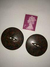 2 Vintage Multi colour /Serpentine early plastic (Bakelite?) 3cm Fisheye Buttons
