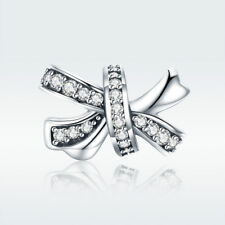 925 Sterling Silver Charm Bead Sweet Bow-knot with CZ For Elegant Lady Bracelet