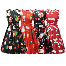 Women Girls Santa Christmas Dress Sleeveless Xmas Swing Retro 20s 50s 60s Dress