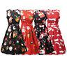 Women Girls Santa Christmas Dress Sleeveless Xmas Swing Retro 20s 50s 60s Dress
