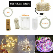 1M - 10M LED String lights USB Copper Wire Bottle Stopper Holiday Fairy Light SO