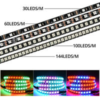 WS2812B LED-Leisten 5050 RGB 30/60/144/100 LED / M IC DC5V 5M 4M 3M 2M 1M