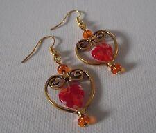 BOUCLES d'Oreilles Orange coeur Métal doré et verre  Heart Earrings golden metal