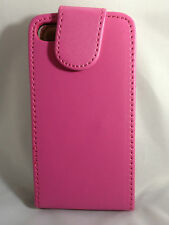 PINK  Leather Flip Case Cover with Card Slots&clip for Apple iPhone 4/4S Plain